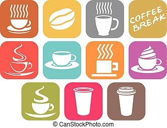 vettore, serie caffè, disegno, icone