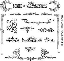 vettore, serie, di, vendemmia, ornamenti
