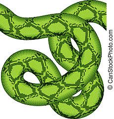 vettore, serpente verde, seamless