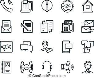 vettore, set, 48x48, stroke., us., altro., editable, icons., include, perfect., sostegno, contatto, operatore, sociale, tale, profilo pixel
