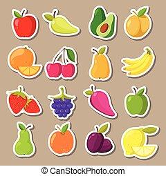 vettore, set, adesivi, frutta, bacche