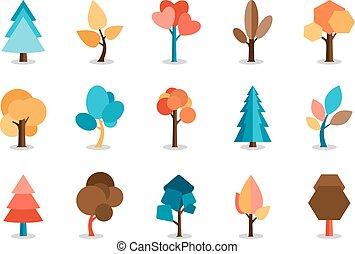 vettore, set, albero, colorato, icone