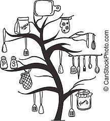 vettore, set, albero, illustrazione, cucina