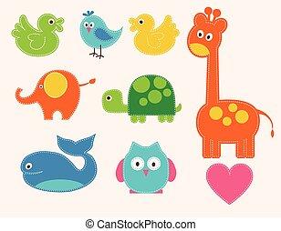 vettore, set, animali, colorito, bambini