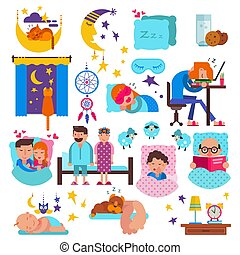 vettore, set, animali domestici, persone, caratteri, cuscino, dormienti, sonnolento, isolato, illustrazione, in pausa, dormiglione, gatto, sonno, letto, fondo, bambino, bianco, durante notte, cartone animato, uomo