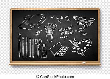 vettore, set, artista, illustrazione, attrezzi