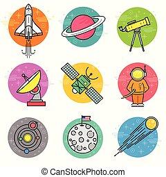 vettore, set, astronomia, icona