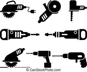 vettore, set, attrezzi, elettrico, icona