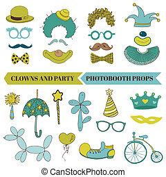 vettore, set, baffi, occhiali, labbra, -, pagliaccio, cappelli, maschere, photobooth, festa