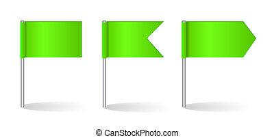 vettore, set, bandiere, illustrazione