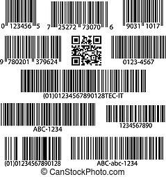 vettore, set, barcodes