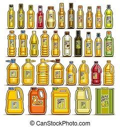 vettore, set, bottiglie, cucinando olio