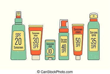 vettore, set, bottiglie, illustration., colorito, protezione, sole, pacchetto, isolato, fascio, imballaggio, fondo., tubes., vario, cosmetica, sunscreen., collezione, prodotti, abbronzatura, bianco, spf