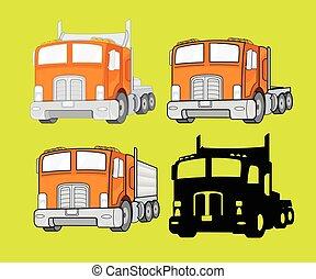 vettore, set, camion