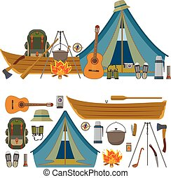 vettore, set, campeggio, fondo., campeggiare, isolato, apparecchiatura, oggetti, icone, bianco, attrezzi
