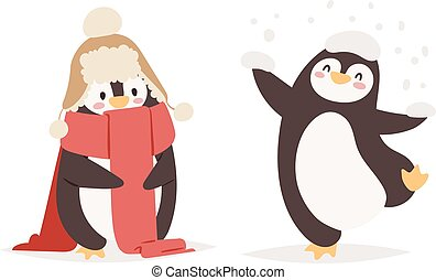 vettore, set, caratteri, pinguino