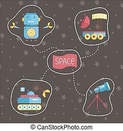 vettore, set, cartone animato, spazio, icone