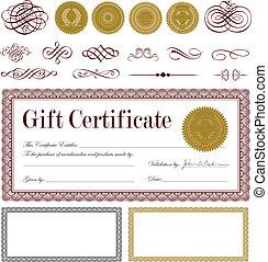 vettore, set, certificato regalo, borgogna