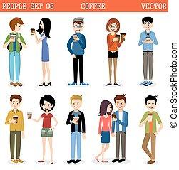 vettore, set, coffee., persone, moderno, carta, occhiali