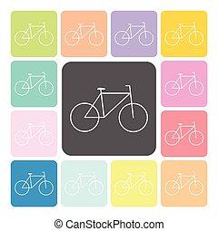 vettore, set, colorare, illustrazione, bicicletta, icona