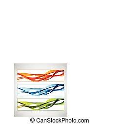 vettore, set, colorito, illustrazione, lines., curvo, bandiere