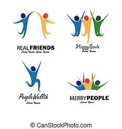 vettore, set, colorito, persone, gioia, saltare, felice