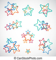 vettore, set, colorito, stelle