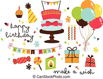 vettore, set, compleanno