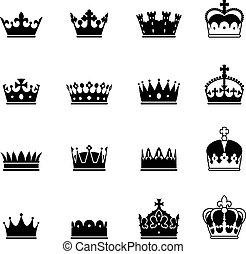 vettore, set, corona, icone