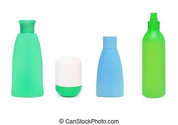 vettore, set, cosmetico, illustrazione, bottles.