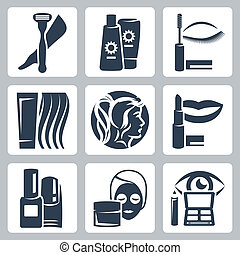 vettore, set, cosmetologia, isolato, icone