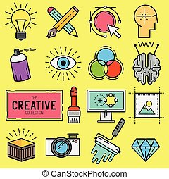 vettore, set, creativo, icona