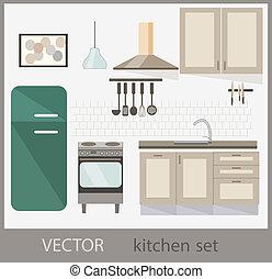 vettore, set, cucina, mobilia