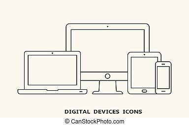 vettore, set, di, contorno, congegno, icons., monitor, laptop, pc tavoletta, e, smartphone