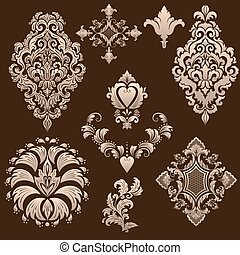 vettore, set, di, damasco, ornamentale, elements.