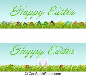 vettore, set, di, due, pasqua, bandiere, con, colorito, uova pasqua, su, erba verde, e, lettering., isolato, bianco, fondo.