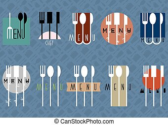 vettore, set, di, elegante, menu ristorante, disegno