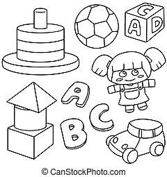 vettore, set, di, giocattoli