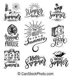 vettore, set, di, mano, iscrizione, con, estate, motivazionale, frasi, e, sketches., calligrafia, inspirational, citare, collection.