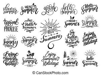 vettore, set, di, mano, iscrizione, con, motivazionale, estate, phrases., calligrafia, inspirational, vacanza, citare, collezione