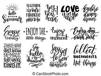 vettore, set, di, mano, iscrizione, con, motivazionale, phrases.calligraphy, inspirational, citare, collection.