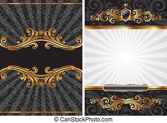 vettore, set, di, oro, &, nero, lusso, decorativo, fondo