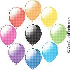 vettore, set, di, palloni coloriti