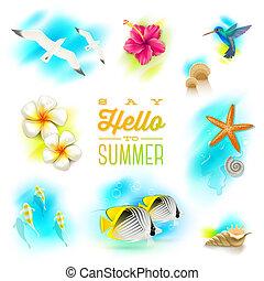 vettore, set, di, vacanza estate, e, tropicale, natura, elementi