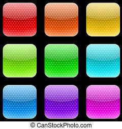vettore, set, di, varicolored, punteggiato, arrotondato, quadrato, bottoni, isolato, su, grigio, fondo.
