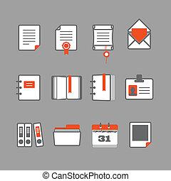 vettore, set, documenti, icone ufficio