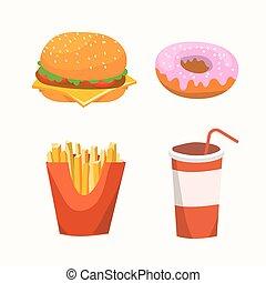 vettore, set, donuts, cibo, bevanda, digiuno, illustrazione, cibo., francese, fries., hamburger, vetro