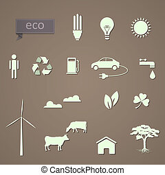 vettore, set, eco-icons