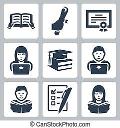 vettore, set, educazione, più alto, icone
