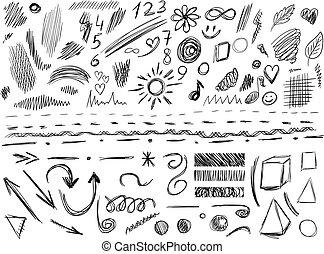vettore, set, elementi, grande, isolato, illustrazione, lines., disegno, white., hand-sketched, nero, scarabocchio, 105
